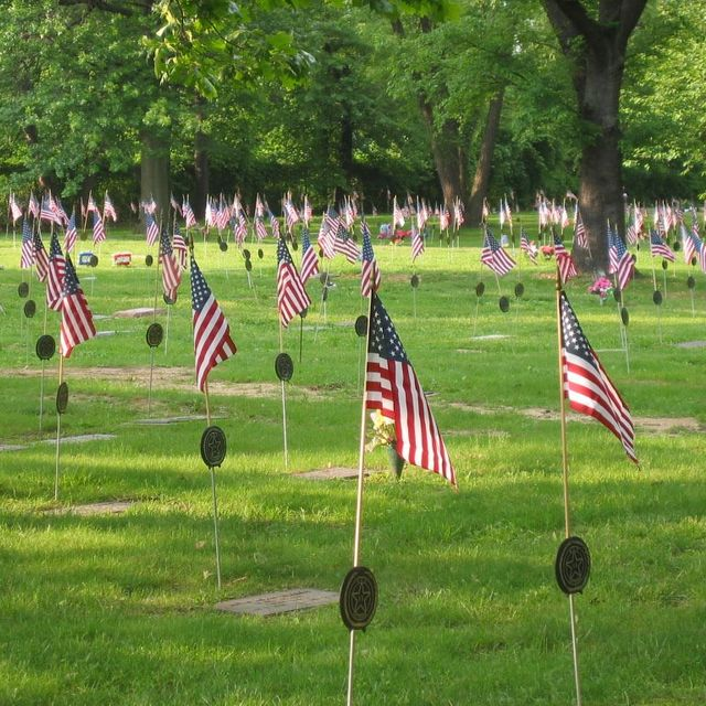 camden cemetery at harleigh veteran flags